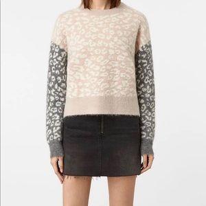 All Saints Leya Crew Neck Print Sweater Sz S
